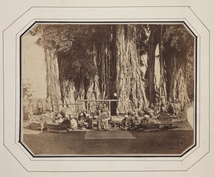 Traditional dancer and musicians, Java, c. 1860.