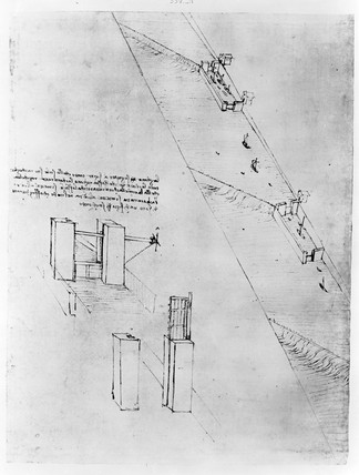 Sketch of a canal and a design for a lock-gate.