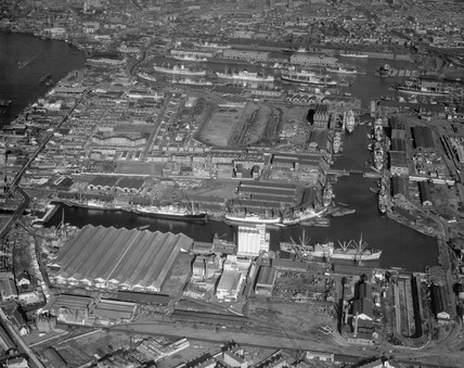 aerial view of the Isle of Dogs, London, November 1957.