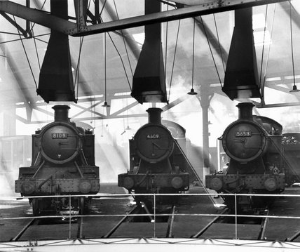 Three locomotives, Tyseley Roundhouse, Birmingham, July 1963.