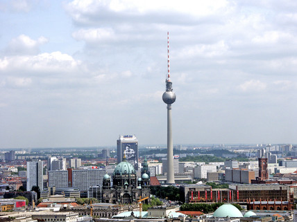 View over Berlin from the tethered balloon ride, Germany, 2004.
