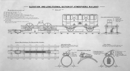 Elevation and longitudinal section of atmospheric railway.
