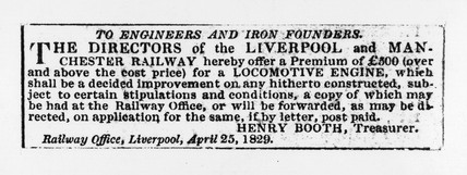 Liverpool Mercury' advertisement for locomotive engine, 1829.