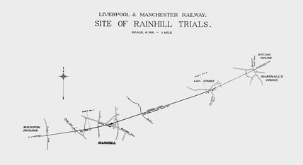 Plan of the site of the Rainhill Trials, Merseyside, 1829.