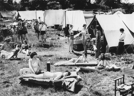 Sunbathing on a campsite at Walton-on-Thames