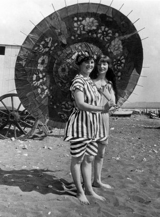 Two young Edwardian women in bathing costum