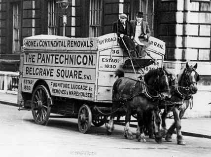 Horse and cart house removals, c 1920s.