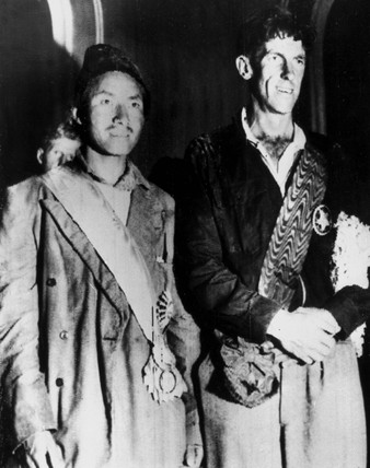 Edmund Hillary and Sherpa Tenzing Norgay, 22 June 1953.