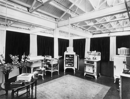 Showroom display of the latest General Electric appliances, 1935-1937.