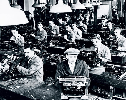 Manufacturing typewriters, c 1930s.