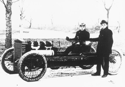 Henry Ford, American car manufacturer, and Barney Oldfield, racing driver, 1902.