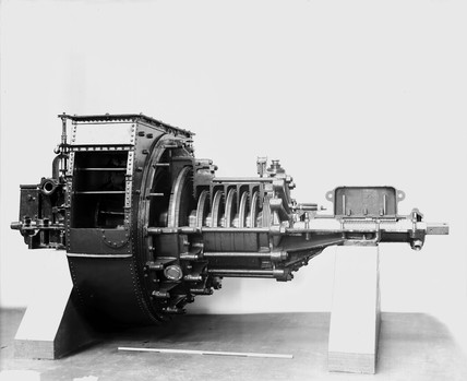 Radial flow turbine engines originally fitted to the 'Turbina', c 1894.