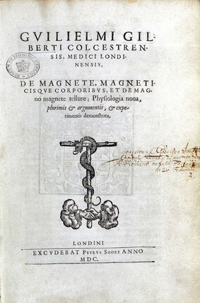 Title page of 'De Magnete' by William Gilbert, 1600.
