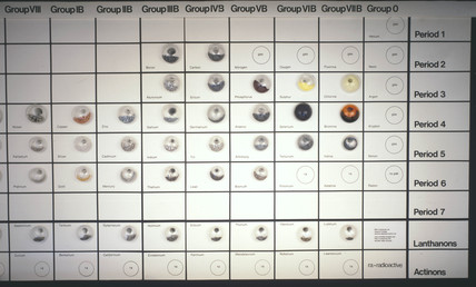 Sample elements arranged in periodic table formation, late 20th century.