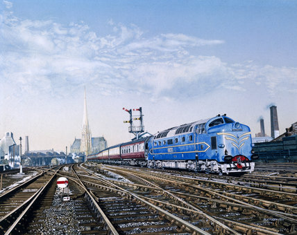 Deltic on its prototype run leaving York St