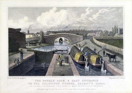 The double lock and east entrance to the Islington tunnel, Regent's Canal, 1827.