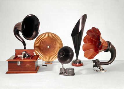Five loudspeakers, 1920s.
