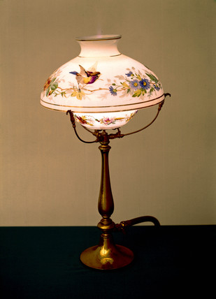 Ornamental gas table lamp, British, late 19th century.