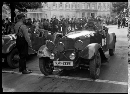A Mercedes Benz motor car at the start of a race, Germany, c 1934.