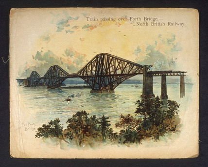 'Train passing over Forth Bridge. North British Railway', c 1890-1891.