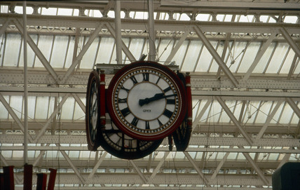 Station clock in Waterloo Station, London, 1993.