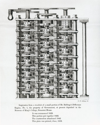 Difference Engine No 1 assembled, 1853.