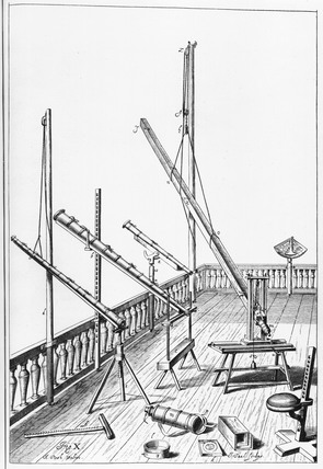 Telescopes set up for use, 1673.