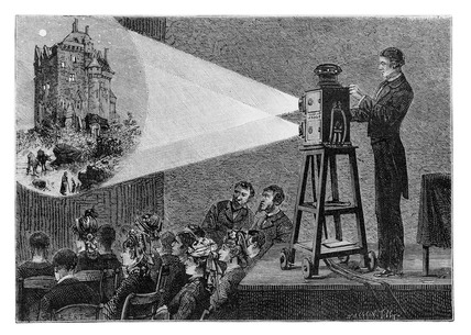 Magic lantern show, 1881. This engraving of