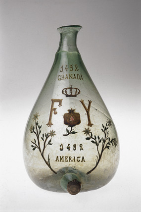 Commemorative glass flask, Spanish, c 1592-1800.