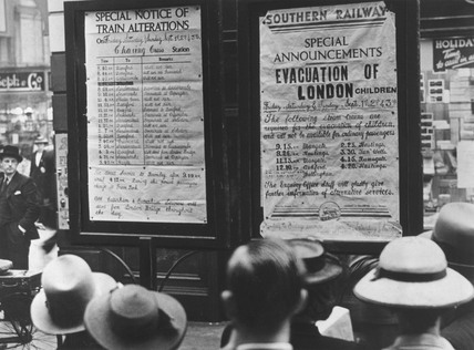 Notices at a London train station, 31 August 1939.