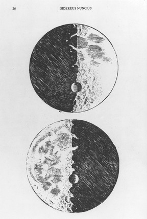 Moon drawing by Galileo, c 1610.
