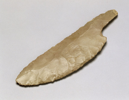 Flint knife blade, Egyptian, 1000-401BC.