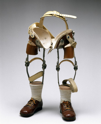 Pair of artificial legs for a child affected by the drug thalidomide, 1968-1972.