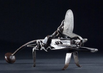 Tinder pistol, all steel grasshopper variety. European, 1750-1800.