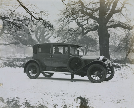 2 door Napier 6 cylinder saloon in snow scene