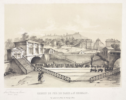 The railway from Paris to St Germain, France, c 1845.
