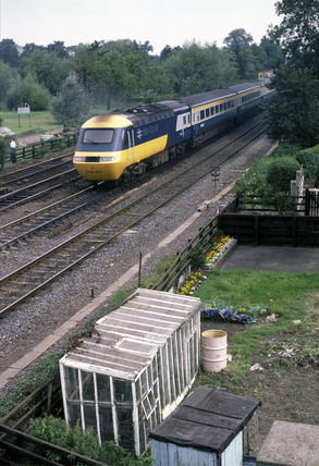 BR Inter-City 125 diesel locomotive pulling a train at Dringhouses, c 1980s.