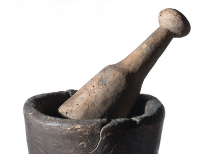 Carved wood pestle and mortar, European, c 1750.