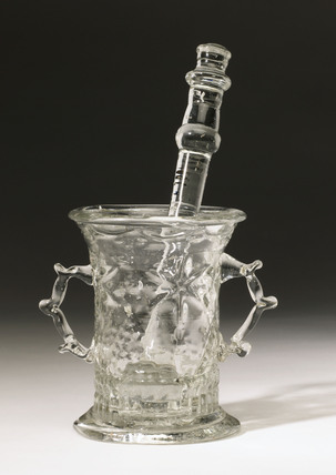 Glass mortar and pestle, c 17th century.