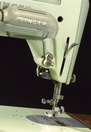 Detail of lock stitch electric sewing machine by Singer, model 319K, c 1953