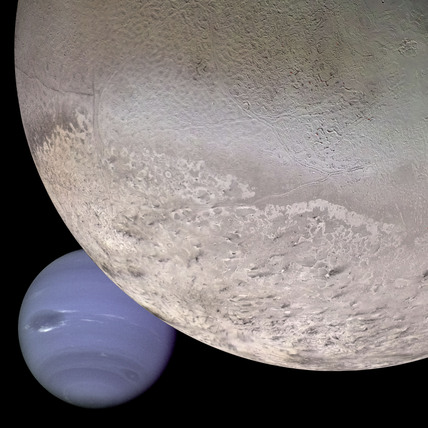 Montage of Neptune and Triton, 6 January 1990.