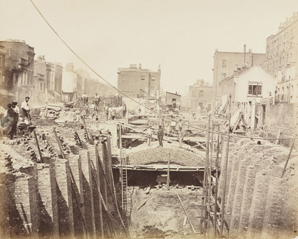 Construction of the Metropolitan District Railway, Paddington, London, c 1867.