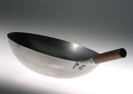 Chinese round bottomed wok with wooden handle, 1999.