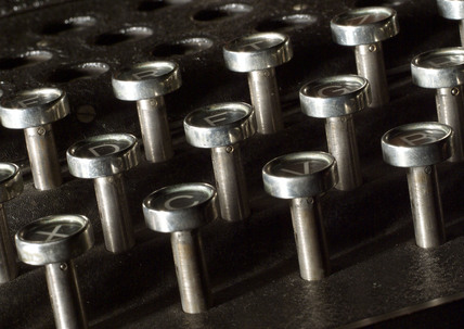 Detail of keys of three-ring Enigma cypher machine, c 1930s.