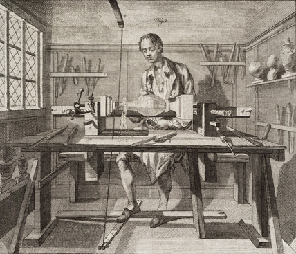 Turning wood, 1754.