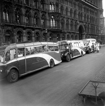 Tour coaches outside St Pancras station, London, 1950.