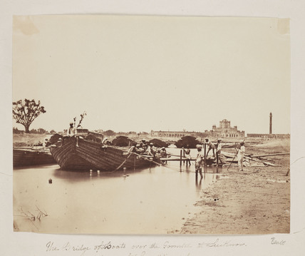 'The Bridge of Boats Over the Goomtee at Lucknow', c 1858.