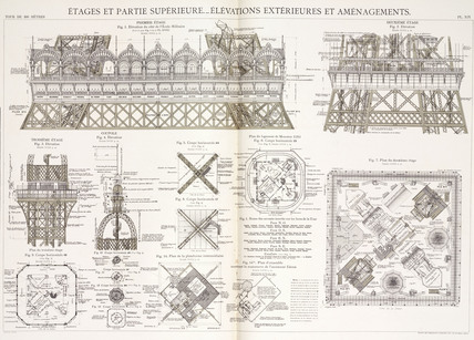 Diagram of the Eiffel Tower, Paris, c 1887.