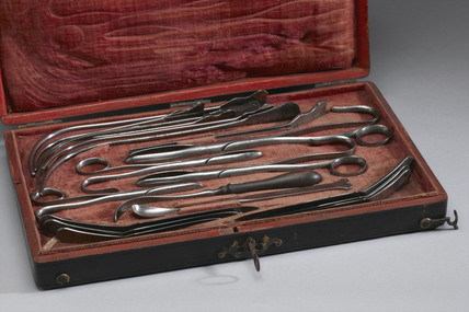 Set of lithotomy instruments in a fishskin case, c 1775.