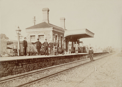 Workers at Montacute Station, Somerset, c 1890.